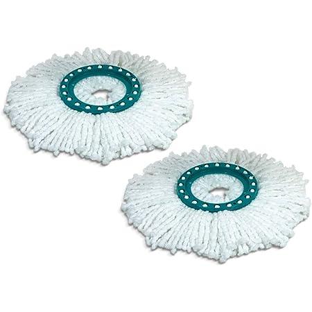 Leifheit lot de 2 têtes de rechange Clean Twist Disc Mop, idéal pour les carrelages et sols en pierre, microfibre absorbante eau et saleté, franges de remplacement, facile à changer