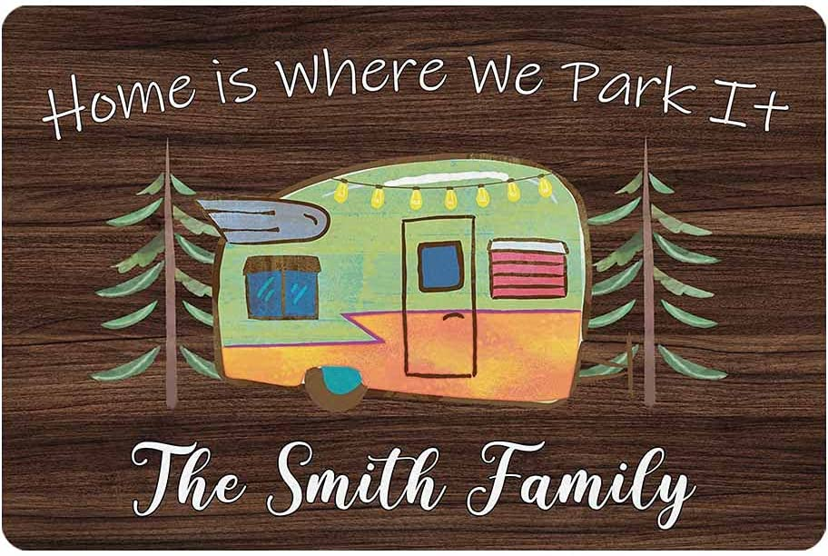 Personalized Camper Cmaping Doormat Home is Where We Park It Rv Door Mat Custom Family Name 24