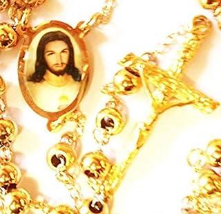 Oro 18K Rosario Joyería de Cadena Jesús católico confirmación crucifijo: Jesus Gold Filled Rosary