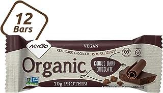 NuGo Organic Double Dark Chocolate, 10g Vegan Protein, Gluten Free, 190 Calories, 12 Count