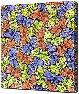 M.C. Escher - Symmetry-Watercolor-70-Butterfly Framed Canvas Art Print Reproduction