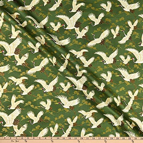 Quilt Gate 0659073 1000 Tsuru II Metallic Green Fabric Stoff, Textil, grün, By The Yard