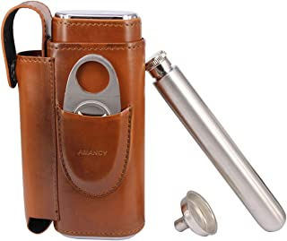 AMANCY Portable Cigar Flask Gift Set - 2 Finger Cigar Case with 2 Oz Stainless Steel Flask and Cutter