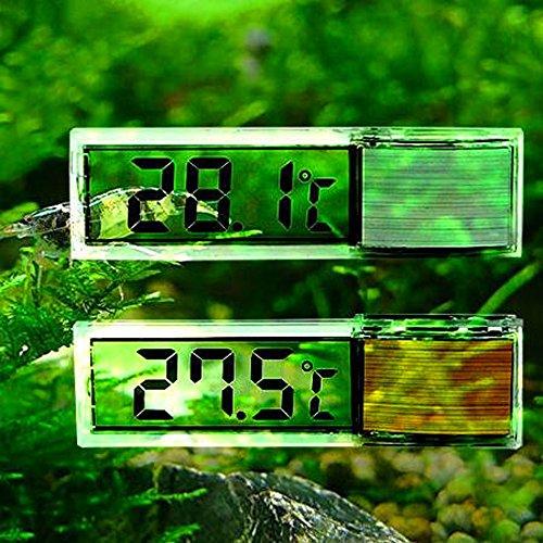 Gudelaa Aquarium 3D Digitaler Elektronischer Thermometer Aquarium LED Externer Angebrachtes Kristall Sensor Energiesparendes Wasser Temperatur Meter Golden