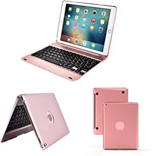 for iPad 9.7 inch 2018 2017 Bluetooth Keyboard Case. Smart Folio Stylish Hard Shell Cover Bluetooth Slim Keyboard Case for iPad Air/Air 2/iPad Pro (Rose Gold)