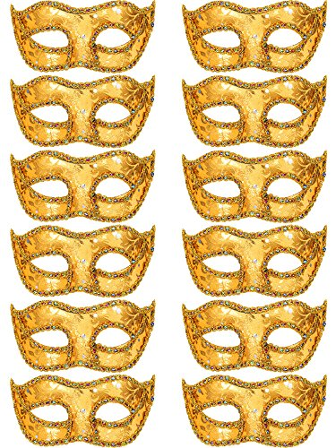TOODOO 12 Pieces Half Mardi Gras Masquerade Mask Venetian Masks Set for Carnival Prom Ball Fancy Dress Party Supplies (Shine Gold)