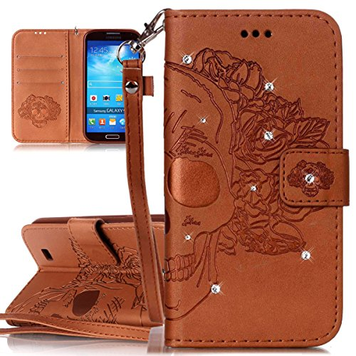 ISAKEN Custodia Cover Samsung Galaxy S4 Mini I9190 con Strap, Shiny Glitter Diamante Cover in Pelle PU Protezione Flip Portafoglio Wallet Caso con Supporto di Stand/Carte Slot - Cranio:Marrone