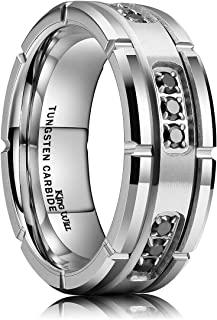 King Will GEM 8mm Mens Tungsten Carbide Wedding Ring Black Cubic Zirconia Inlaid CNC Matte Finish