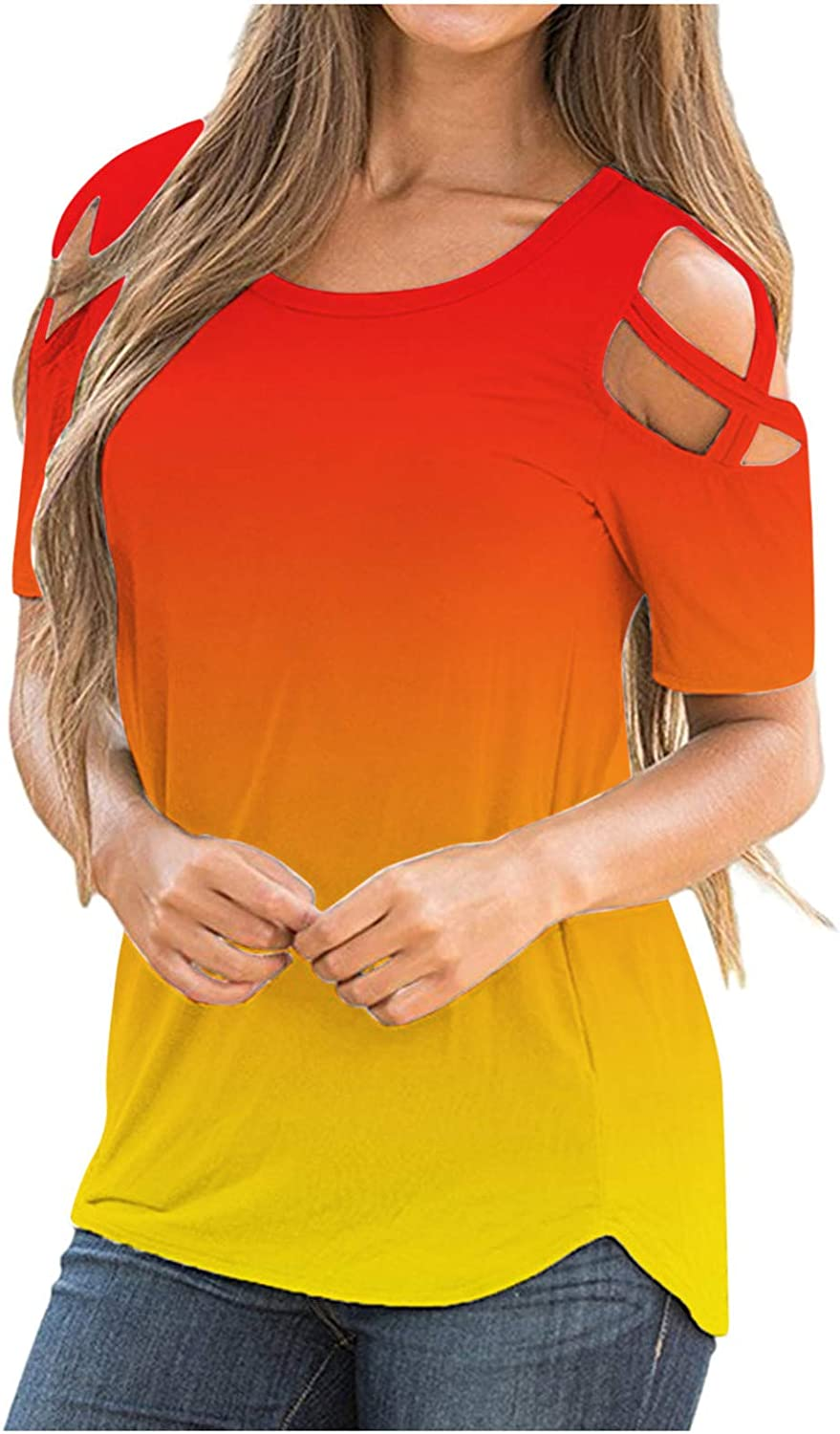 Women's Summer T Shirts Fashion Gradient Color Short Sleeve Tie Up Cold Shoulder Casual Tee Top