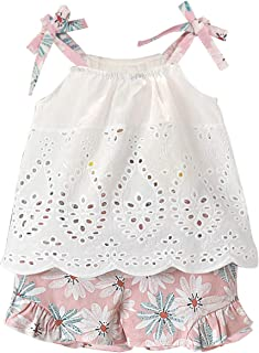 6abeea9e09586 Little Girls Summer Outfit Holiday Floral Mini Dress Tops Shorts Clothing  Set
