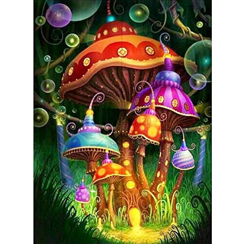 MXJSUA DIY 5D Diamond Painting Kits Full Drill Round Crystal Rhinestone Pictures Arts Craft for Home Wall Decor Gift Colored Mushrooms 12x16in