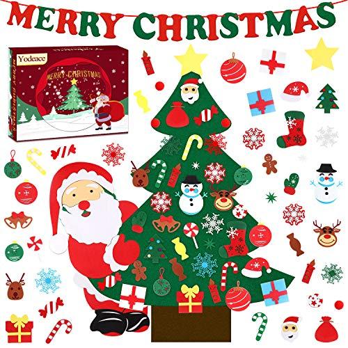 Yodeace Albero di Natale in Feltro, 38,58 Pollici Albero Natale Feltro per Bambini con 40 Pezzi Ornamenti Staccabili DIY Regali di Natale di per la Decorazione della Parete del Portello