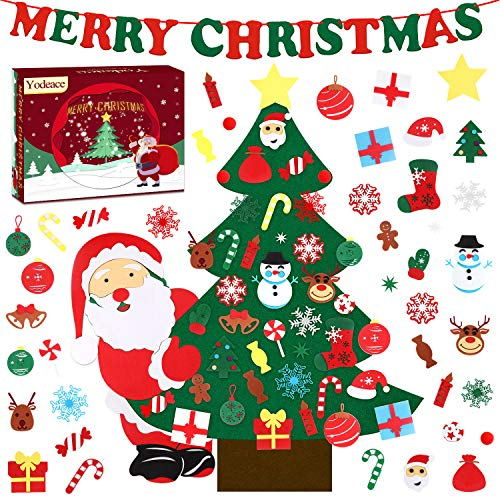 Yodeace 24 Pollici Albero di Natale Piccolo, Albero Natale Piccolo con 30 Pezzi di Mini Albero di Natale Ornamenti