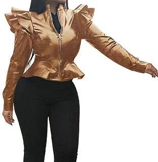 Macondoo Women's Ruffle Zipper Front Fashion Faux-Leather Slim Moto Jacket