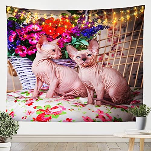 Cat Wall Hanging Pet Cats Wall Blanket for Boys Girls Children Teens 3D Cute Kitten Bedding Throw Blanket Floral Medium 51x59