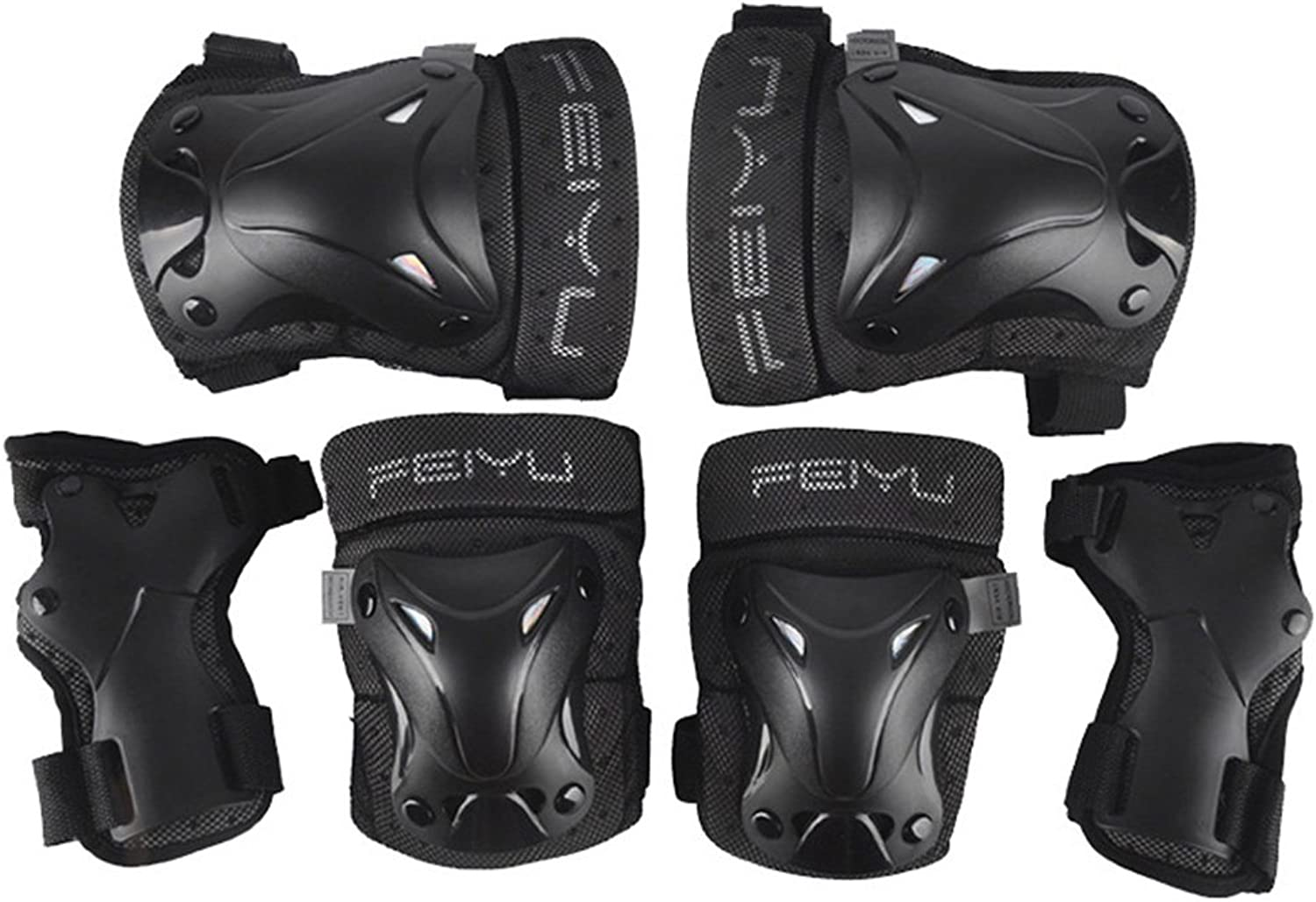 GUSTAVE Pack of 6 Bike Knee Pads and Elbow Pads with Wrist Guards Predective Gear Set for Adult or Kids Biking, Riding, Cycling and Multi Sports Gear