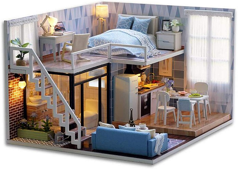 Sorliva Doll HOuse Kit DIY bluee Time Miniature Wooden Modern Dollhouse Furniture Kit LED Doll House