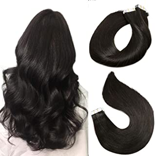 Tape In Remy Human Hair Extensions 8A 20pcs 50g Per Set #1B Natural Black Remy Hair Extensions Seamless Skin Weft Remy Silk Straight Hair Glue in Extensions Glue in Extensions Human Hair 22 Inch