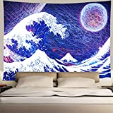 Heopapin Ocean Wave Tapestry Wave Crashes Tapestry The Great Wave Off Kanagawa Tapestry with Abstract Moon Hippie Tapestry Wall Hanging for Bedroom Living Room Dorm(W78×H59 Inches)