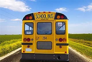 Yeele 7x5ft Vinyl Photography Background Back to School Season Yellow School Bus Stop Sign Trees Road Photo Backdrops Pictures Photoshoot Studio Props Wallpaper