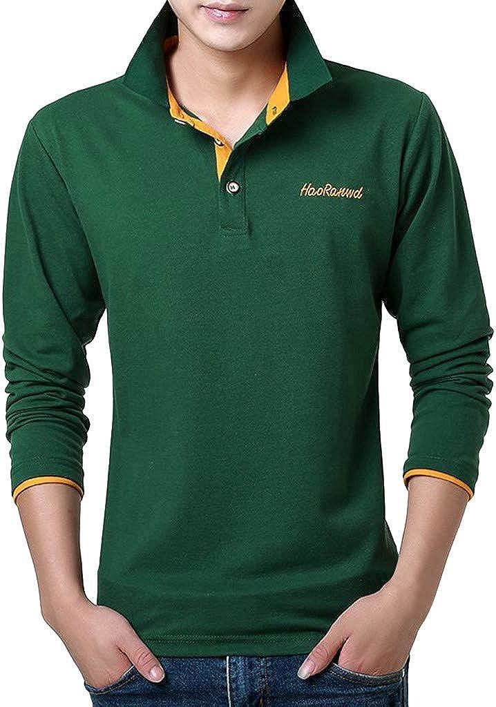 MODOQO Men's Comfort Sweatshirt Long Sleeve Lapel Collar Loose Fit T-Shirt