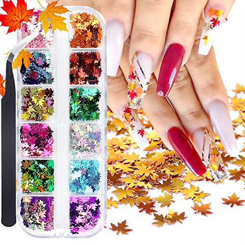 12 Colors Fall Leaves Nail Art Glitter Sequins with a Tweezers, 3D Flake Metallic Maple Leaf Shaped Gold Red Yellow Mixed Design Manicure Nails Supply Glitter Decorations