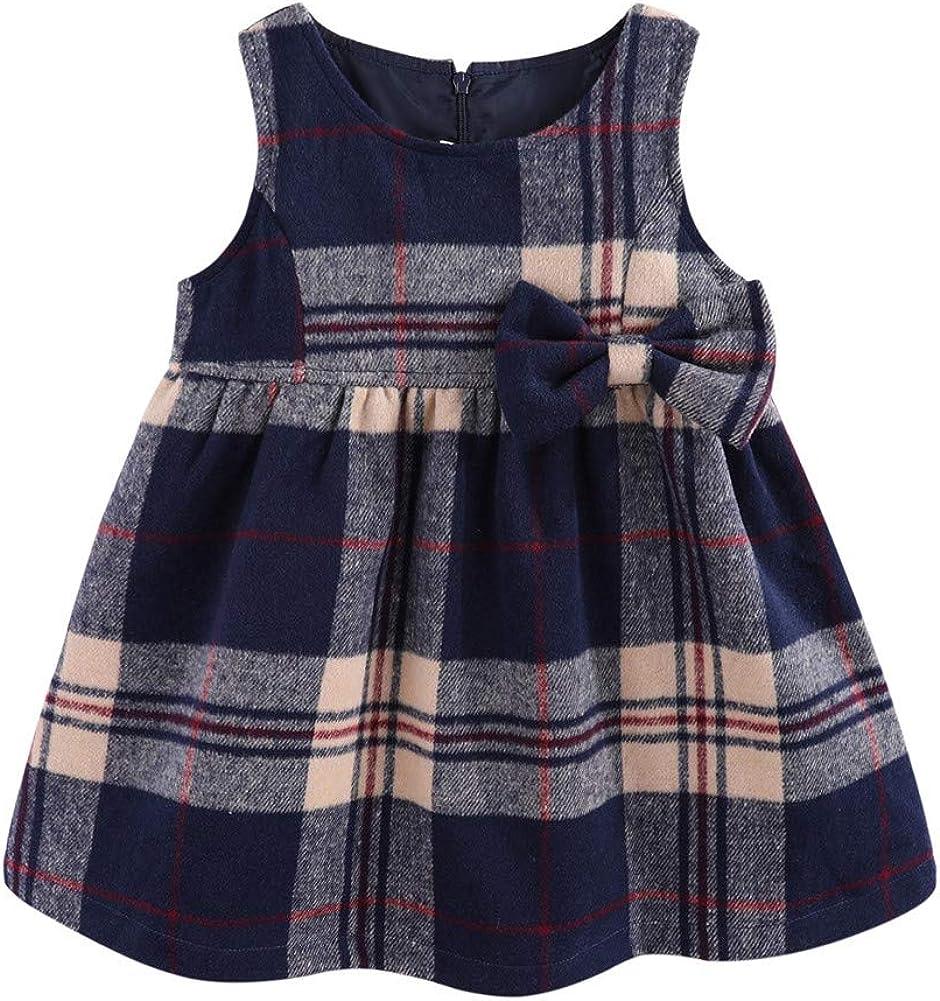 Mud Kingdom Faux Wool Holiday Girls Dresses Plaid Sleeveless Loose Fit