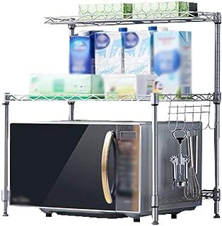 Étagère de cuisine Four à micro-ondes Support en acier inoxydable 2 couches Double couche Étage réglable au sol Support de...