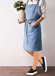 Easily Life Denim Apron 100% Cotton Blue 2.79ft(H) 3.12ft(W) with 3 Pockets for Unisex Women Man Kitchen Cooking Dishwashing (Light Blue)