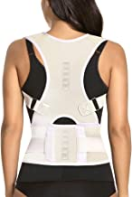 Thoracic Back Brace Posture Corrector - Magnetic Support for Neck Shoulder Upper and Lower Back Pain Relief - Perfect Posture Brace for Cervical Lumbar Spine - Fully Adjustable Belt (Beige, Large)