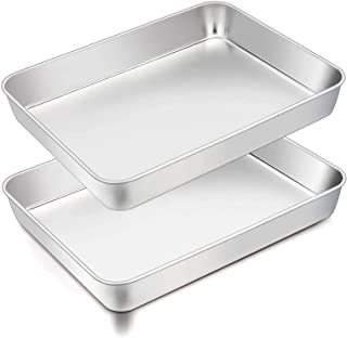 TeamFar Lasagna Pan, 12⅖'' x 9¾'' x 2'', Stainless Steel Rectangular Casserole Cake Baking Brownie Pan, Non-toxic & Sturdy...