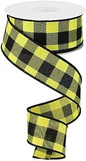 Plaid Check Wired Edge Ribbon - 10 Yards (Yellow, Black, 1.5