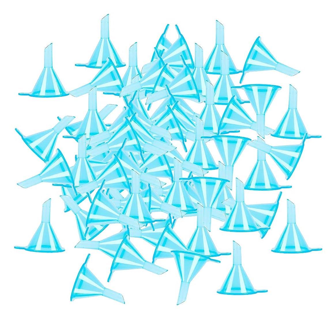 側面労働者同封するT TOOYFUL 100個セット 液体 香水用 小分けツール ミニ ファンネル エッセンシャルオイル 全3色 - ブルー