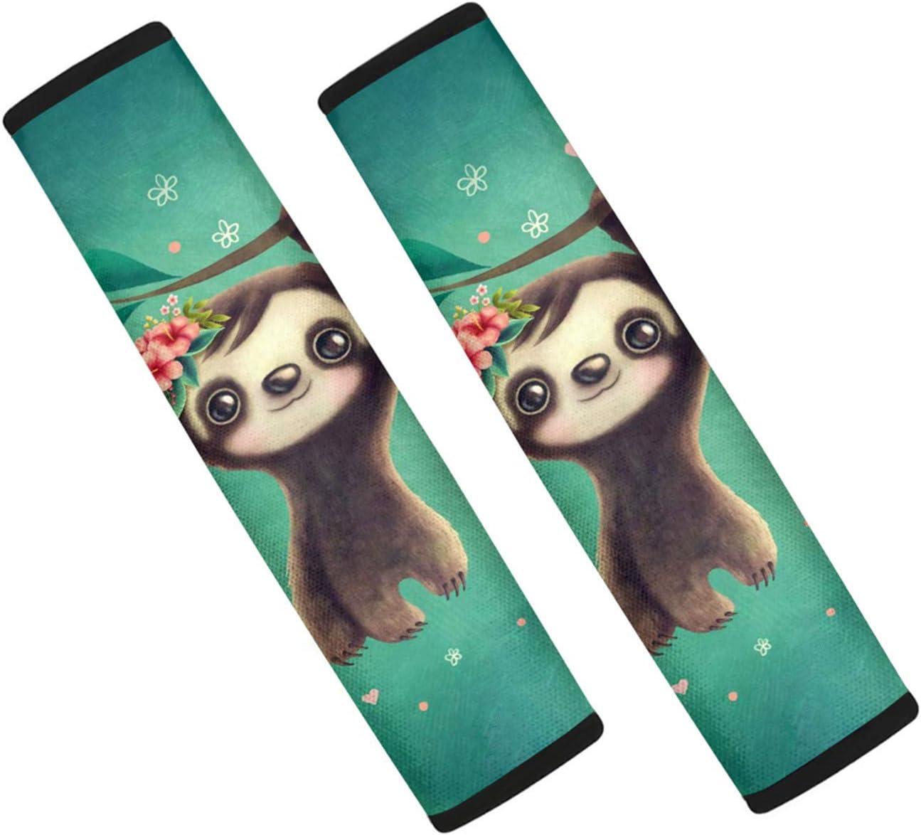 HUGS IDEA Car Seat Belt Cover Pads Kawaii Baby Sloth Flower Shoulder Seatbelt Pads Protectors Safety Belt Straps Shoulder for Women Men Children Gifts