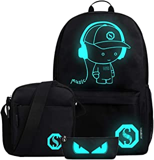 FLYMEI Anime Luminous Backpack for Boys, Girls School Daypack with Shoulder Bag 15.6'' Laptop Bag, Lightweight Travel Bag Set, Cool Cartoon Backpack for Men