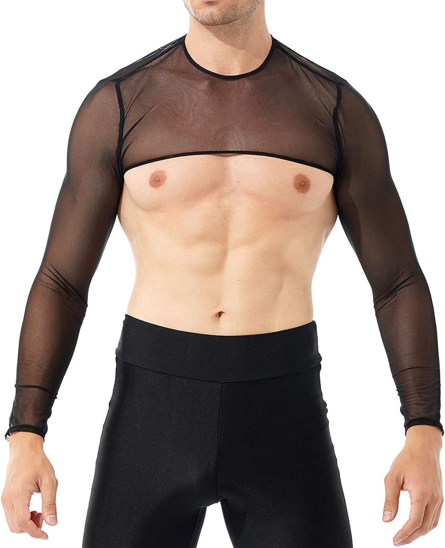 Sholeno Women Mens Mesh Sheer See Through Crop Top Long Sleeve Shrug Bolero Shrug Clubwear
