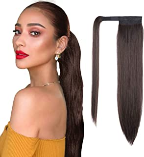 AISI QUEENS 24 inch Ponytail Extension Long Straight Wrap Around Clip in Synthetic Fiber Hair for Women (Chocolate Brown)