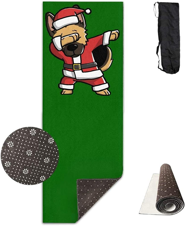 Dabbing German Shepherd Ugly Christmas Yoga Mat Towel for Bikram Hot Yoga, Yoga and Pilates, Paddle Board Yoga, Sports, Exercise, Fitness Towel