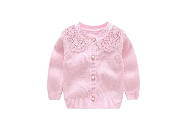 c15925ff6ad XIAOHAWANG Knitted Baby Girls Cardigan Toddler Button up Sweaters