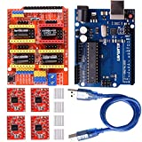 Kuman Expansion Module for Arduino CNC Shield V3.0 + R3 + 4 A4988 Stepper Motor Drivers with K75 Heatsinks