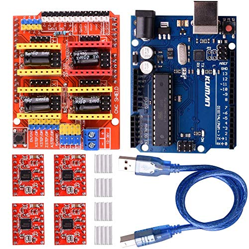 Kuman CNC Engraver Shield Expansion Board V3.0 + R3 Board+4pcs A4988 Stepper Motor Driver With Heatsink Kits for Arduino K75