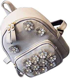 ZTDBB Backpack,Pu Leather Flowers Women's Backpack Female Trend Handbags Fashion Floral Soft Face Ladies Backpack (Color : Gray)