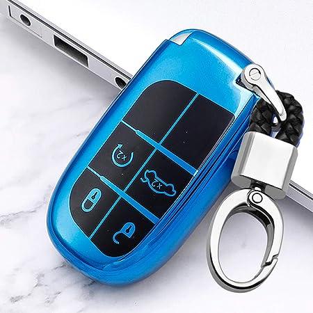 Ontto Smart Autoschlüssel Hülle Cover Für Jeep Grand Cherokee Compass Journey Renegade Dodge Weiche Tpu Schutzhülle Schlüsselschutz Mit Schlüsselanhänger Schutz Etui Für Fernbedienung 4 Taste Blau Auto