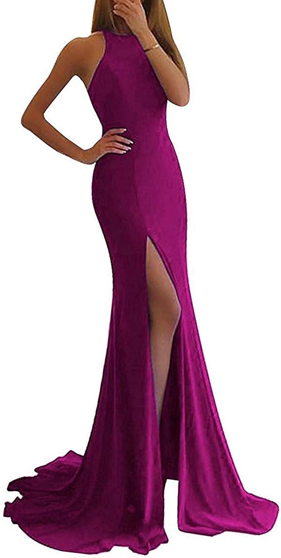 Vimans Womens Long Sleeveless Prom Dresses 2018 Mermaid Slit Homecoming Gowns DressDH155
