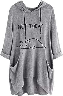 Not Today Women Loose Hoodies Cute Cat Ears Long Sleeve Pullove Hooded Sweatshirts