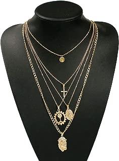 Fascigirl Fashion Stylish Alloy Chain Necklace Decor Choker Necklace Multilayer Charm Necklace