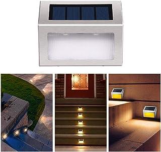 Solar Step Light Outdoor Stair Lamp LED Waterproof Wireless Yellow Warm Light 2-Pack Fence Path Garden Front Door Sidewalk...