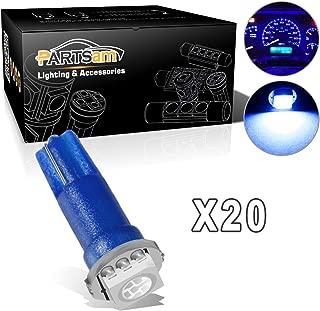 Partsam T5 74 LED Light Bulb 37 LED Bulbs Bright Instrument Panel Gauge Cluster Dashboard LED Light Bulbs Speedometer Lamp Lights 20Pack-Blue