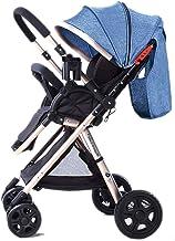 Sillas de paseo JCOCO High Landscape Baby Stroller Handle Reversible Infants Buggy se Puede sentar y tumbarse DownUltralight Portable Plegable Carro Infantil Golden Cart Frame (Color : Linen Blue)