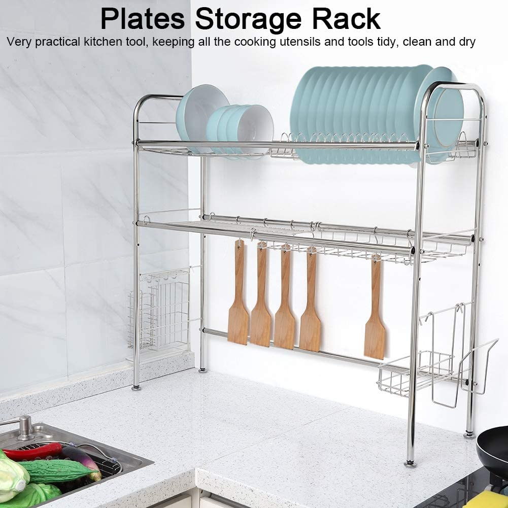 2 Tiers Over The Under blast sales Sink Weekly update Dish Drying 304 Steel Stainless Rack Plat